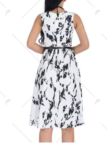 Fashion Belted Sleeveless Floral Monochrome Dress - S BLACK WHITE Mobile