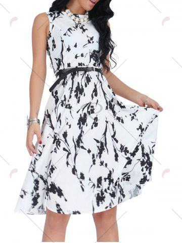 Shop Belted Sleeveless Floral Monochrome Dress - S BLACK WHITE Mobile
