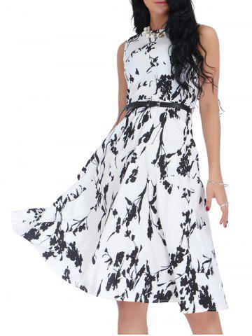 Latest Belted Sleeveless Floral Monochrome Dress - S BLACK WHITE Mobile