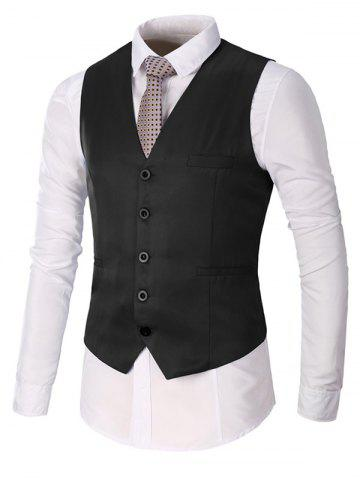 Shop Single Breasted Faux Pocket Waistcoat - 3XL BLACK Mobile