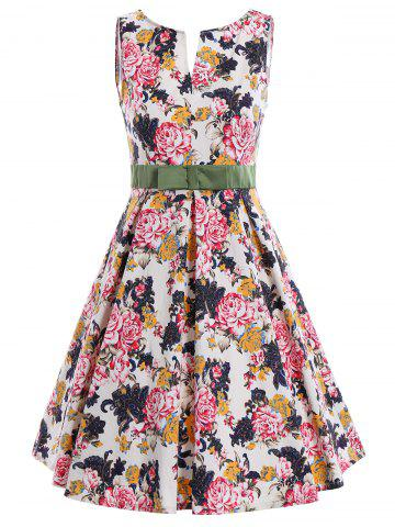 Online Bowknot Waist Sleeveless Floral Pin Up Dress - M COLORMIX Mobile