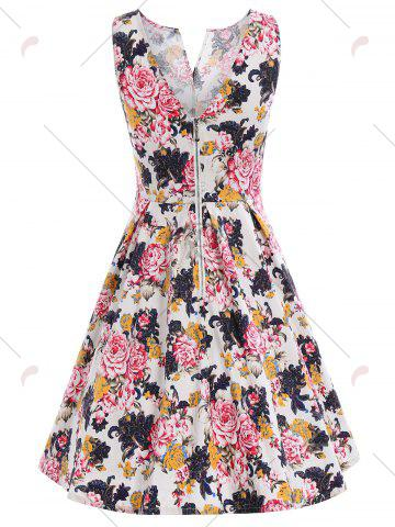Latest Bowknot Waist Sleeveless Floral Pin Up Dress - M COLORMIX Mobile