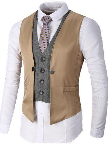 Unique Single Breasted Two Tone Faux Twinset Waistcoat KHAKI S