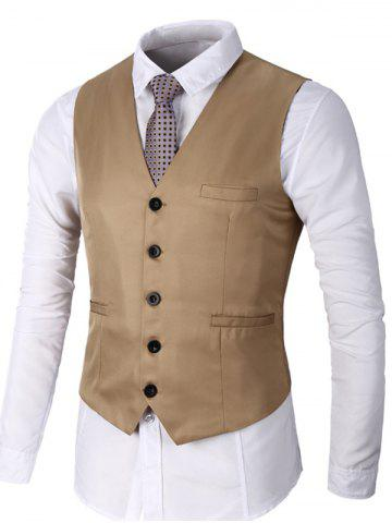 Affordable Single Breasted Faux Pocket Waistcoat KHAKI M