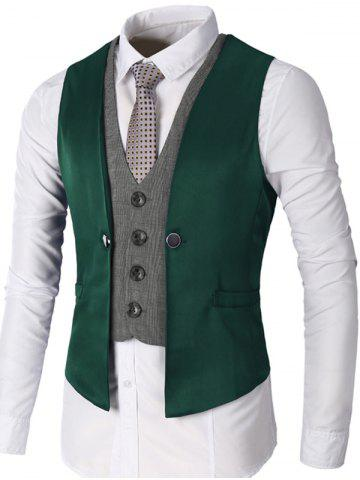 Hot Single Breasted Two Tone Faux Twinset Waistcoat GREEN L