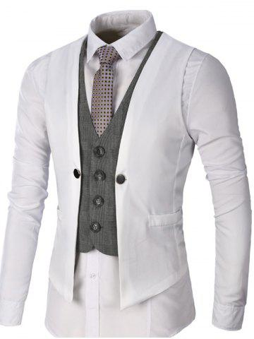 Fancy Single Breasted Two Tone Faux Twinset Waistcoat - WHITE L Mobile