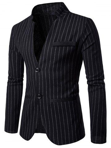 New Two Button Vertical Stripe Casual Blazer BLACK 2XL