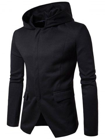 Chic Cotton Blend Hooded Zip Up Casual Blazer - M BLACK Mobile