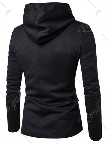 Discount Cotton Blend Hooded Zip Up Casual Blazer - M BLACK Mobile