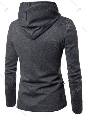 Buy Cotton Blend Hooded Zip Up Casual Blazer - 2XL GRAY Mobile