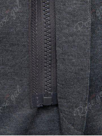Shops Cotton Blend Hooded Zip Up Casual Blazer - 2XL GRAY Mobile
