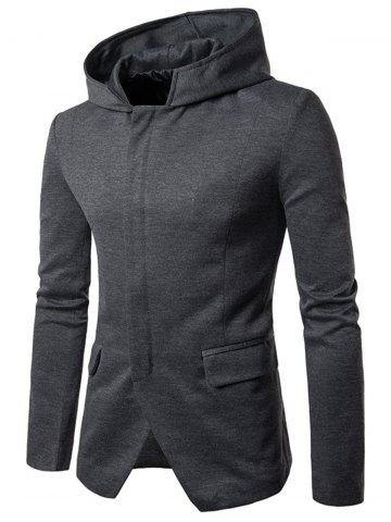 Sale Cotton Blend Hooded Zip Up Casual Blazer GRAY L