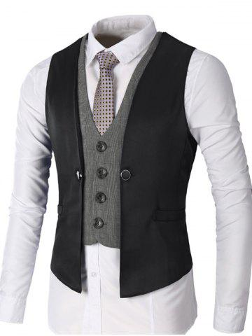 Trendy Single Breasted Two Tone Faux Twinset Waistcoat - BLACK M Mobile