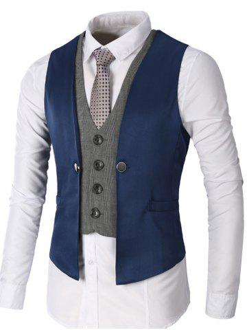 Fancy Single Breasted Two Tone Faux Twinset Waistcoat DEEP BLUE XL