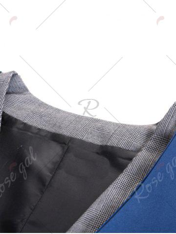 Buy Single Breasted Two Tone Faux Twinset Waistcoat - DEEP BLUE XL Mobile