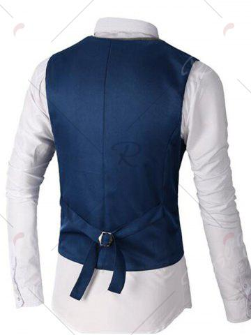 Latest Single Breasted Two Tone Faux Twinset Waistcoat - DEEP BLUE M Mobile