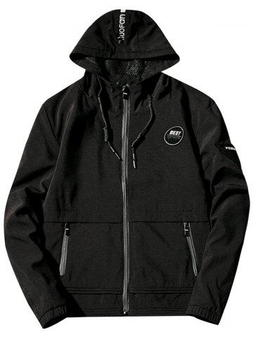 Mesh Lining Appliques Hooded Zip Up Jacket - Black - S