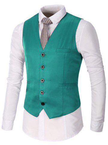 Store Single Breasted Faux Pocket Waistcoat GREEN L
