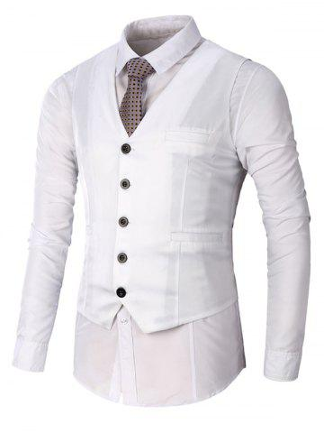 New Single Breasted Faux Pocket Waistcoat - 3XL WHITE Mobile