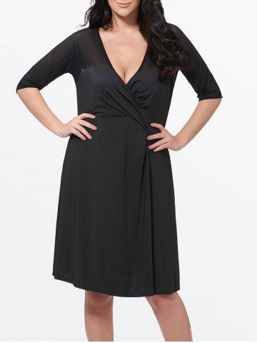 Mesh Insert Plus Size Surplice Dress - Black - 2xl