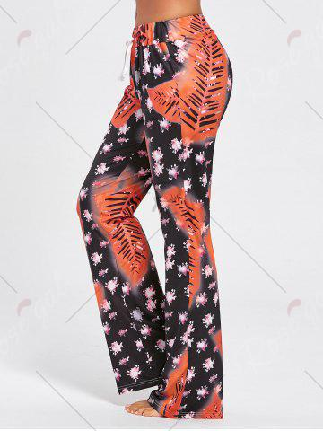 Store Floral Long Drawstring Waist Night Pants - S COLORMIX Mobile