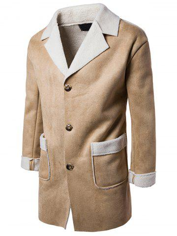 Slot Pocket Notch Lapel Faux Shearling Coat - Camel - M