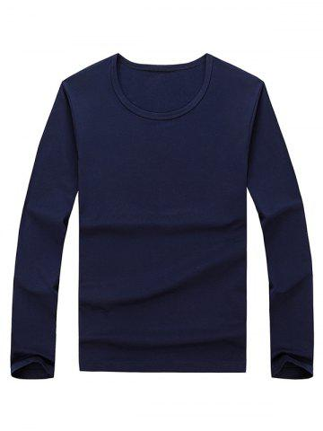 Fashion Long Sleeve Basic T-shirt PURPLISH BLUE 2XL