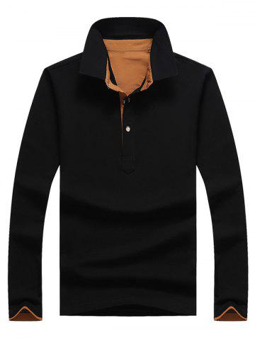Store Casual Long Sleeve Half Button Polo Shirt BLACK 3XL
