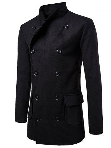 Store Tie-waist Wool Blend Coat - 2XL BLACK Mobile