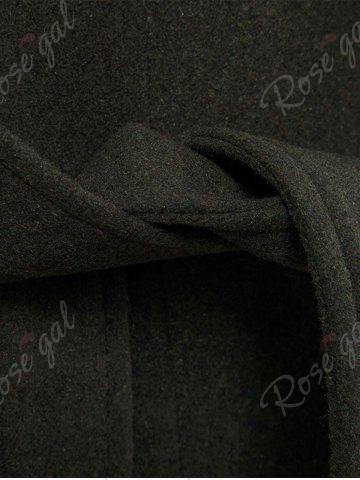 Outfits Tie-waist Wool Blend Coat - L ARMY GREEN Mobile