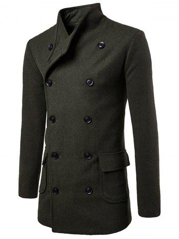 Trendy Tie-waist Wool Blend Coat - L ARMY GREEN Mobile