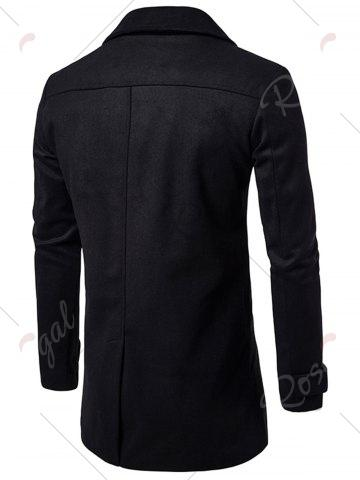 Affordable Double Breasted Wool Blend Coat - L BLACK Mobile