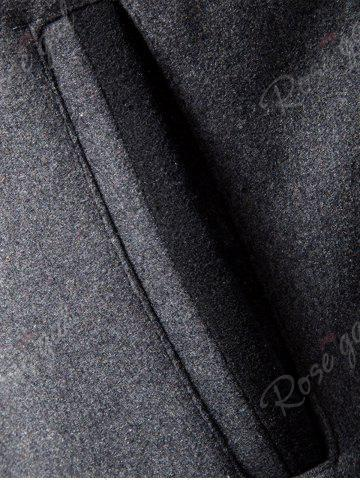 Buy Double Breasted Wool Blend Coat - 2XL GRAY Mobile