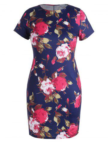 Plus Size  Bodycon Floral Dress with Pockets - Deep Blue - 6xl