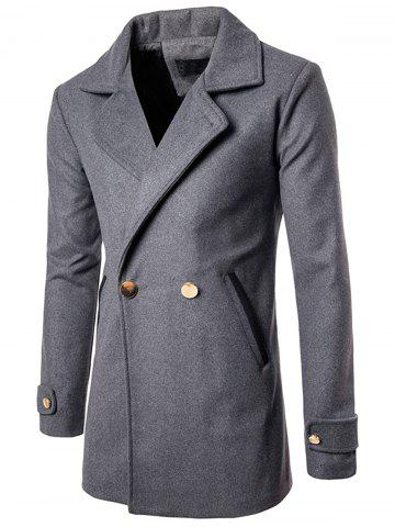 Cheap Double Breasted Wool Blend Coat - L GRAY Mobile