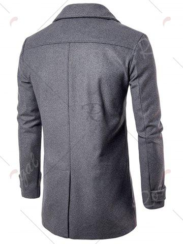 Unique Double Breasted Wool Blend Coat - M GRAY Mobile