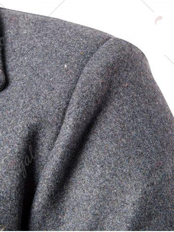 Best Double Breasted Wool Blend Coat - M GRAY Mobile