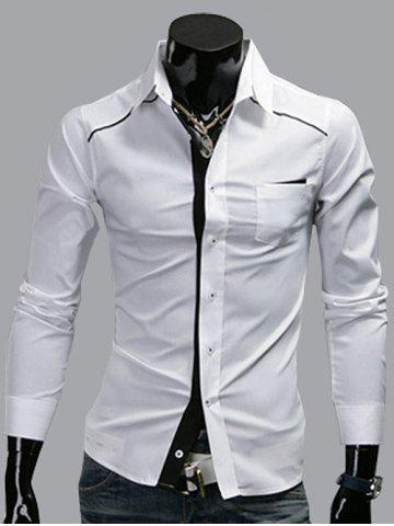 Long Sleeve Edging Panel Pocket Shirt - White - 2xl
