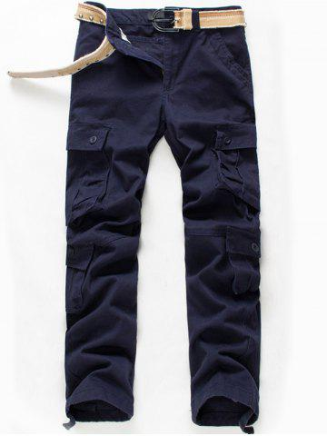 Outfit Button Flap Pockets Zip Fly Cargo Pants - 42 PURPLISH BLUE Mobile