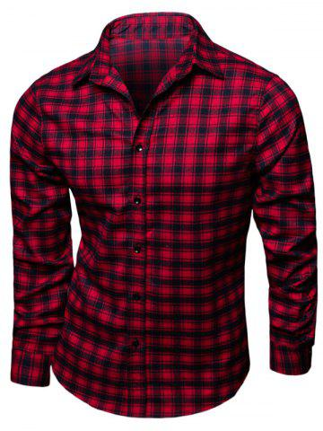 Turndown Collar Long Sleeve Tartan Print Shirt - Red - M
