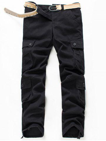 Store Button Flap Pockets Zip Fly Cargo Pants - 42 BLACK Mobile