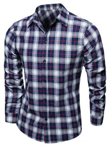 Tartan Turndown Collar Long Sleeve Shirt - Cadetblue - M