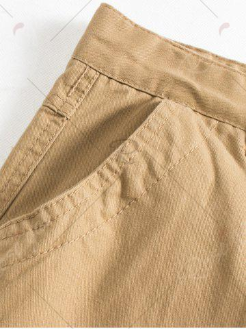 Fancy Button Flap Pockets Zip Fly Cargo Pants - 42 ARMY GREEN Mobile