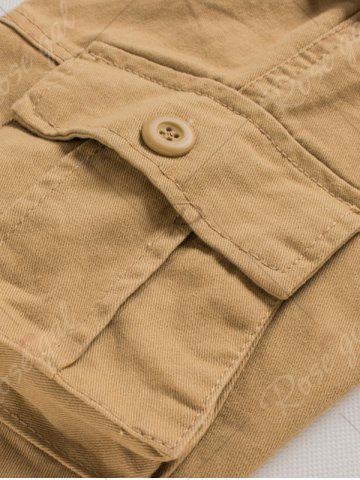 Store Button Flap Pockets Zip Fly Cargo Pants - 42 ARMY GREEN Mobile