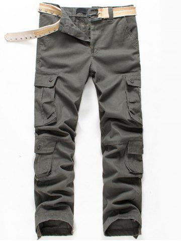 Outfits Button Flap Pockets Zip Fly Cargo Pants - 42 ARMY GREEN Mobile