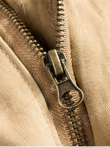 Shop Button Flap Pockets Zip Fly Cargo Pants - 42 ARMY GREEN Mobile