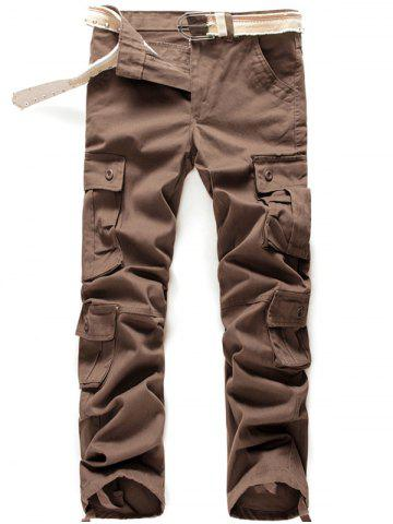 Button Flap Pockets Zip Fly Cargo Pants - Coffee - 34
