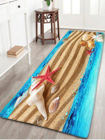 3D Sea Beach Print Antislip Flannel Rug - Sand Yellow - W24 Inch * L71 Inch