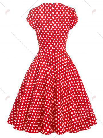 New Vintage Polka Dot Swing Pin Up Dress - S RED Mobile