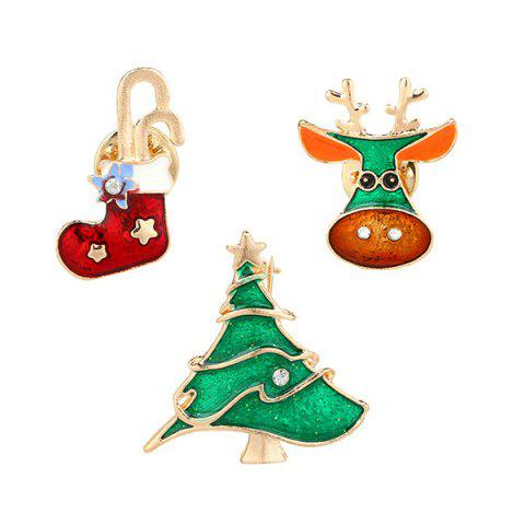 Affordable Rhinestone Christmas Sock Deer Tree Brooches COLORMIX